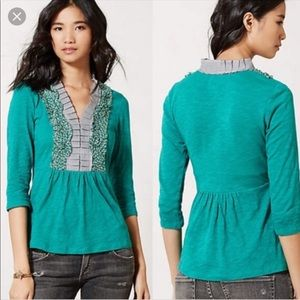 Anthropologie Deletta floral and stripe ruffle top